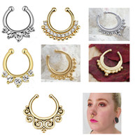 indian jewelry - Body jewelry Clip On Fake Septum Clicker Non Piercing Gold Plated Nose Ring Hoop Indian