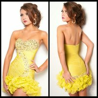 affordable cocktail dresses - Mini Short Chiffon Sexy Design Affordable Short Prom Dresses Yellow Cocktail Dress Gown
