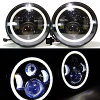 "LED light Left CREE LED 7"" CREE LED Headlights Halo Ring Angle Eyes For Jeep 2007-14 Wrangler JK LJ TJ DHL Free shipping"