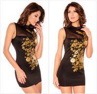 Wholesale Dress New Fashion Mesh White Black Cheongsam Floral Foil Print Dress Mini Dress