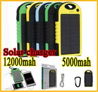 Wholesale 12000mAh mAh mAh mAh Solar Charger Dual USB LED Light Battery Solar Panel power bank External Battery Waterproof shockproof