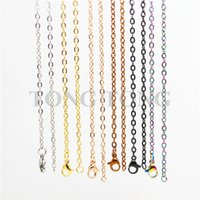 Wholesale 20 cm High Quality Silver Gold Rose Black etc L Stainless Steel O Shaped Chain Floating Charm Locket Necklace