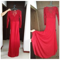 apple clearance - In Stock Deep Red Evening Dresses Long Sleeves Full Back V Neckline Sweep Train Side Split Spandex Long Formal Gown US6 Clearance Cheap