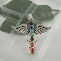 angel stones - Finding MM Angel Wings Healing Chakra Stone Point Beads Pendant Charms Jewelry Fit Necklace