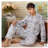 mens sleepwear - New men s spring and autumn wear long sleeved Home Furnishing suit Mens sleepwear Mens Cotton Pajamas men sleepwear nightwearJBY200