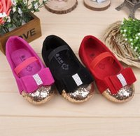 2015 Spring Kids Girls Sequin Bowknot Casual Shoes Children Lovely