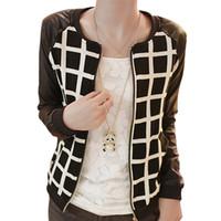 Wholesale Fashion Ladies PU Leather Stitching Long Sleeve Jacket Coat Plaid Outwear New