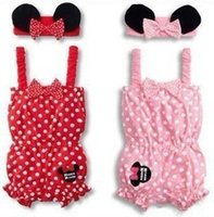 Cheap Girl dot minnie mouse rompers and headband 2 pcs summer set overalls Suspenders