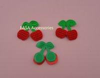 Wholesale 100PCS cm cm Red Crochet Cherry Patches Applique with green non woven Leave DIY Ornament BARGAIN FOR BULK