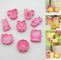 Wholesale 8 new cookie cutter mickey Minnie hello kitty doraemon cooking tools styling tools cake decorating tools
