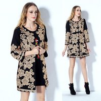 beaded trenches - New Arrival Autumn Winter Women s O Neck Sleeves Beaded Discoids Flowers Elegant Runway Trench Coats in Plus Sizes