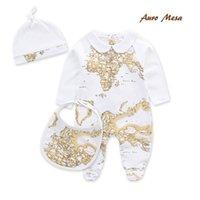 Wholesale 2016 Newborn Organic Cotton Baby Romper Set Climbing Clothes Global Print Bib Jumpsuit Hat Overal Suit Baby