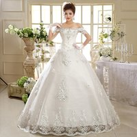 embroidery lace - Newest Korean fashion Manufacturers hot sell new A word shoulder plus size Bridal wedding dresses HS593