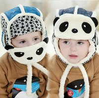 Winter aviator accessories - Lovely Panda Hats Baby Caps Kids Aviator Hat Bomber Winter Cap Children Masks Warm All For Children Clothing And Accessories