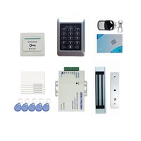Wholesale DIY Full Complete RFID Door Access Control Kit Set Electric Strike Magnetic Lock Card PIN Remote Control Door Bell Exit Button order lt no t