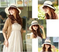 Wholesale 2015 new product Women Fashion Sun Hat Fashion Women s Summer Foldable Straw Hats Beach Headwear Colors