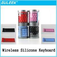 Al por mayor-GLK-2.4GHz impermeable del teclado del silicón de Bluetooth 3.0 flexible plegable 84-Key inalámbrico para PC portátil