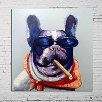 modern painting decorative - Modern Home Decoration Abstract Handpainted Painting Smoking Dog Animal Decorative Paintings Pure Hand painted Oil Picture Pop Art Works