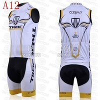 Wholesale 2014 popular type outdoor road bodysuit team trek cycling jersey white bib sleeveless men bicycle clothing