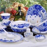 Wholesale Jingdezhen ceramic tableware bone china tableware suit peony dishes cutlery sets