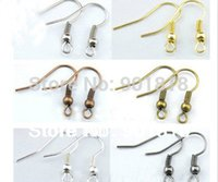 Wholesale Colors Fashion Iron Ear Hook Clasp With Bead Charms Earring Wires Fit Jewelry DIY Findings F7