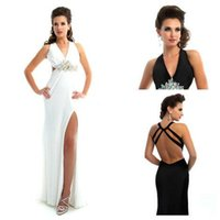 black and white prom dresses - Sexy Crystal Beaded Dress V Neck Prom Dresses Long Black and White Evening Gowns Bodycon Chiffon New Arrival