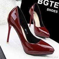Wholesale Fashion colors OL pointed toes patent leather pumps shallow thin high heels shoes for women eur size