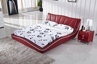 Wholesale Elegant Bed Nice Design Top Grain Cattle Leather Hot Red French Design Soft Modern bedroom furniture Beds B29