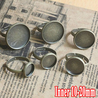 Wholesale Min Order100PCS Antique Bronze Ring Blank Jewelry with inner mm Bezel Setting Tray for Cameo Cabochons