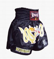 Wholesale gold double dragon male and female Muay Thai shorts embroidered black satin imported Mickey Muay Thai Shorts