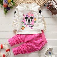 Wholesale Retail Minnie Mouse girls clothing suit spring autumn cartoon long sleeve t shirt plaid pants children set kids clothes HX