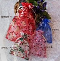 best xmas holidays - Christmas Santa snowman Design Gift sand pocket bag Wedding jewelry candy Xmas organza bags Pouches packaging holiday party Decorations best
