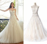 corset wedding dresses - 2015 Romatic Cheap Hot Wedding Dresses Sweetheart Lace Appliques Beaded Belt Corset Back Court Train Formal Bridal Gowns Under rt0036