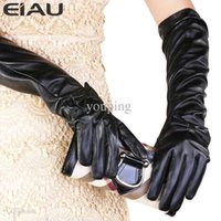 active teacher - cm Elbow Bow knot Black Winter Plus velvet Thickening PU Synthetic Teacher Long Women Gloves Dance Mittens For Girls