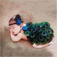 Wholesale Cute Photos Girls - Peacock Style Newborn Baby Photography Props Cute Animal Feather Design Photo Props with Headband New Hot Sale Costume Outfit hight quality