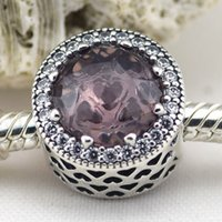 Wholesale 2015 Autumn New Sterling Silver Radiant Hearts Charm Bead with Pink Crystal Clear Cz Fits European Pandora Jewelry Bracelets Necklace
