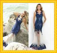 Wholesale Satin Fabric Mermaid Prom Dress - 2015 Fashion Navy Blue Mermaid Prom Dresses Sequined Fabric Lace Applique Tulle Evening Formal Pageant Dresses Gowns For Beach Summer Style