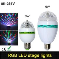Wholesale DHL Shipping Full Color W E27 RGB LED Crystal Stage Light Voice activated Or Auto Rotating DJ party bulb KTV stage Lig