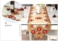 banquet size tablecloth - banquet wedding party table runner with plate mat red floral dinning tablecloth multi size table flag