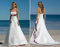 Wholesale 2015 Elegant Satin Beach Wedding Dresses Strapless Sleeveless Court Train Wedding Gowns With Applique Crystal Beaded Draped Bridal Gowns