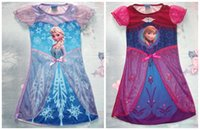 baby night gowns - New Arriva Toddler Girls Costume Frozen Elsa Anna Princess Pajamas Night Gown Shirt Dresses Baby Dress Princess Skirt Lace Flower Tutu Dress
