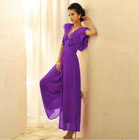 Wholesale Purple Chiffon Jumpsuit Romper Overall coverall long Mesh Sheer tulle one piece female women ladies macacao feminino summer