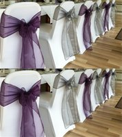 Wholesale Romantic Purple and White Tying Chair Sashes for Beach Wedding Party Decorations Organza Chair Sashes Sky Blue Green Bows Christmas Decor