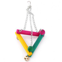 Wholesale Colorful Wooden Hanging Swing Bird Parrot Toys Lovely Budgie Cockatoo Playing Triangle Standing Toys