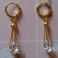 Wholesale 30pairs Gold Plated Drop Earrings White Crystal CZ Luxury Earrings Dangler Long Fashion Jewelry for Women