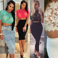 Wholesale 2015 Women Summer Crop Tops Short Floral Fashion Stand Plus Size Women Red Blusas Sexy Show Thin Eyelash White Black Lace Tops
