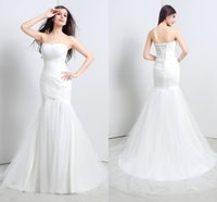 Cheap In Stock 2015 Elegant White Ivory Mermaid Wedding Dresses Sweetheart Lace up Ruched Bodice Bridal Gowns Court Train Real Pictures Size 6-16