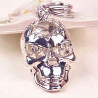 Wholesale Unique Skull Heads Rhinestone Keychain Men Skeleton Key Chain Car Pendant Key Holder Key Ring Cute Kito Keychains