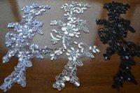 Cheap 10Piece  Lot car bone lace flower sequins patch 25cm*12.5cm wedding dress applique DIY bridal headdress lace collar lace fabric