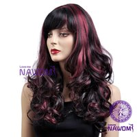 Wholesale women Synthetic Wigs weaves long black red color with a bang funky wigs Synthetic fiber of Kanekalon pc D3293
